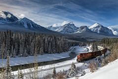 After the Avalanche (SharonWellings) Tags: canada jasper morantscurve winter avalanche mountains train snow cold banff nationalpark sharonwellings trees