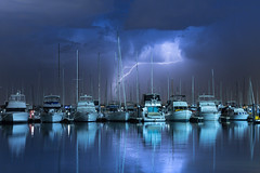 Energy for sail (yesterdays.australia) Tags: reflection clouds wild weather truenos westernaustralia australia perth quay storm thunderstorm thunder boats port lightning