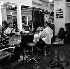 Just A Little Off The Top Please (tcees) Tags: blackandwhite rupertct london w1 x10 fujifilm street barbers hairdressers seat mirror stool people earthnight chinatown