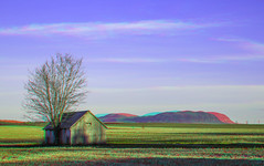 Saint-Charles Barn (Rational_Photography) Tags: montreal quebec city canada anaglyph stereo stereopgrah photo picture red cyan blue magenta 3d anaglyphs photography saint charles saintcharles stcharles st hilaire sthilaire sainthilaire mountain montagne field champ champs barn wood tree barren corn cornfield spring sky green canon slr dslr 5d mark iii digital lens richelieu montérégie valley river region