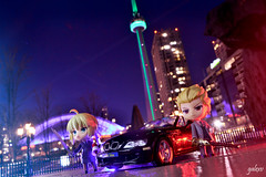 Chaldea Secret Service (GaleXV) Tags: jfigure bfigure nendoroid goodsmilecompany the6ix toronto cntower night nightlights buildings cars bmw roadster typemoon fategrandorder fatego fgo fatestaynight saber gilgamesh archer nikon d3100 toyphotography outdoor