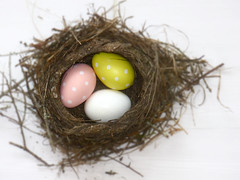 Happy Easter (nikagnew) Tags: eggs easter nest yellow pink white polkadots