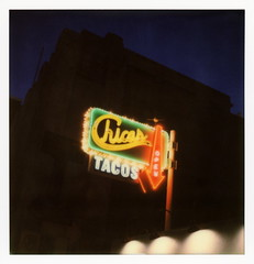 Chicas Tacos Neon (tobysx70) Tags: the impossible project tip polaroid slr680 frankenroid sx70 door rollers color film for 600 type cameras impossaroid chicas tacos south olive street dtla downtown los angeles la california ca mexican restaurant tacostand diner neon sign lit illuminated twilight night open arrow toby hancock photography