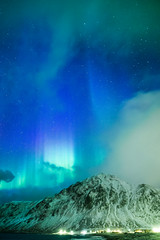 Amazing Picturesque Unique Nothern Lights Aurora Borealis Over Lofoten Islands in Nothern Part of Norway. Over the Polar Circle. (DmitryMorgan) Tags: norway arc astro astronomy auroraborealis beautiful cold colors famous fjord geomagnetic green illuminated intense ionosphere light lights lofoten luminosity magneticfield mysterious mystery nature night northern northernlights picturesque polarcircle sky solar spring stars sunactivity traveldestination unique vibrant vivid