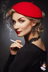 74451898 (harleystone75) Tags: smoke smoking cigarette beauty beautiful woman sexy blonde hair makeup eyes lips nails beret red black blouse studio pose