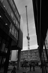 Architecture West End EPMG  (3 of 20) (Philip Gillespie) Tags: architecture edinburgh scotland mono buildings city sky spring form shape angles reflections clouds modern