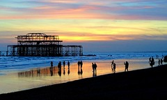 Low Tide Sunset (baxter.ad) Tags: west pier lowtide sand people folk searching waves england uk brighton east sussex beachcomber