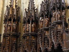 Choir Stalls, Worcester Cathedral (Aidan McRae Thomson) Tags: worcester cathedral worcestershire victorian stalls woodwork woodcarving