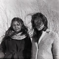 twins (Ivan Ovchinnikov) Tags: twins sisters wind portrait film kodak trix 400 kiev 88 mediumformat blackandwhite bw 6x6 square tree lines canon canoscan mark mark2 9000f sunlight analog chiile ivanovchinnikov ивановчинников пермь select hair