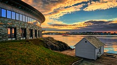 New and old, Karmsundet -  Norway (Vest der ute) Tags: g7x norway rogaland haugesund seascape sea water houses sky clouds windows grass outdoor reflections boat fav25