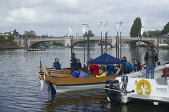 TP41 (EmmaDurnford) Tags: tudorpull 2017 hamptoncourtplace molesey teddington riverthames watermen annual rowing event palaces stela watermanscompany gloriana thamestraditionalrowingcompany flags pennants royalarms henryv111 king tudors livery boats vessels teams