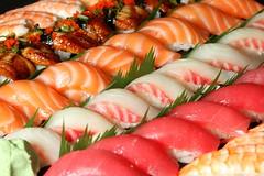 Field of Nigiris (Photoscriber) Tags: sushi nigiri eel salmon shrimp tuna