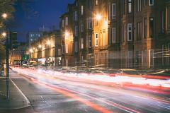 Sauchiehall Street (D Cation) Tags: scotland glasgow kelvingrove sauchiehallstreet night traffictrails tenements