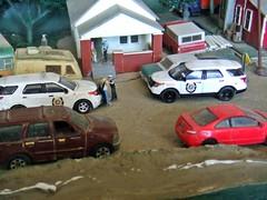Sheriff's log 4/23/2017 (THE RANGE PRODUCTIONS) Tags: greenlight matchbox masito fordpoliceinterceptorutility fordexpedition honda 164scale dioramas diecast diecastdioramas toy model pickup hoscalefigures