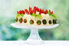 fresh strawberry cake... (Gregoria Gregoriou Crowe) Tags: birthday red food cake horizontal fruit table dessert photography strawberry europe cream plate nopeople indoors foodanddrink indulgence freshness baked colourimage