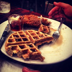 Chicken and Waffles (therealSamWow) Tags: food chicken cooking breakfast meal syrup waffle
