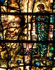 """Work"".  People are planting a tree. (Glass Angel) Tags: work stainedglass stainedglasswindow tewkesburyabbey tomdenny2002"