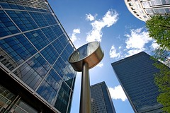 1 Canada Square (DaveJC90) Tags: camera new city morning blue light summer sky cloud sun sunlight colour detail building slr london beautiful june architecture modern skyscraper square lens nikon colours afternoon angle cloudy weekend capital wide railway sunny sharp crop highrise docklands 1020mm canarywharf dlr dull bankstreet croped sharpness canadasquare isleofdogs cabotsquare d40 upperbankstreet