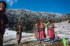 48_BTA8908 (David Ducoin) Tags: pink mountain snow hat forest asia dress bhutan drink traditional bluesky nomad himalaya landscap brokpa tashigang ducoindavid tribuducoin
