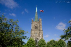 St. Andrews Church Hornchurch (jonedwards1990) Tags: uk greatbritain trees england sky cloud london tower english church clouds canon landscape eos countryside unitedkingdom flag country landmark gb local unionjack essex turrets englishcountryside hornchurch cofe churchofengland 550d