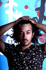 In a Mellow Tone (Cameron Jameson) Tags: portrait brown black shirt self hair big shot afro jacket curly cameron hawaiian levi facialhair mustache mulato wansley camjames camjameson