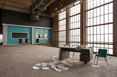 Turquoise View (waterfallout) Tags: windows urban plant abandoned architecture paper europe interiors power desk crane turquoise exploring forgotten papers powerplant exploration ue urbex ecvb