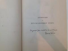 Eugene Field's first edition copy of Huckleberry Finn, signed by Mark Twain (mylunagirl) Tags: marktwain rarebooks huckfinn huckleberryfinn eugenefield
