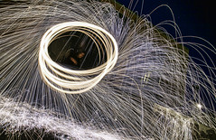 MIKE3458-chaos-4 (Michael William Thomas) Tags: hot wool danger shower fire photo alley exposure industrial steel spin journal burn spark molten vio steelwool nightlong viovio