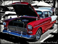 '55 Chevy (Photos By Vic) Tags: old red art classic chevrolet 1955 car automobile antique flag chevy american transportation hotrod vehicle 55 carshow