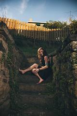 Ali (Kristin-Sanderson) Tags: woman girl beautiful tattoo female stairs canon lens vines mark young curls tattoos kristin ali fairy ii blonde half l 5d brunette sanderson jeremycowart 24105mm