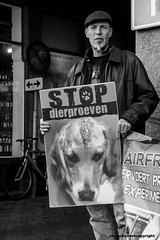Den Haag (26 okt) - Stop Animal testing (JanvanSchijndel) Tags: world travel light portrait people dog white black face animal composition emotion expression details protest denhaag testing klm airfrance