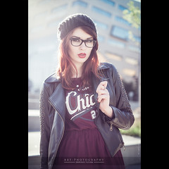Urban Chic(a) Go!  | FUJI x-PRO1 (dominikfoto) Tags: portrait chicago france sexy mannequin girl beauty hat fashion backlight 35mm photography glasses glamour fuji chica lyon horizon babe chicas chic bonnet mode lunettes fille fujinon contrejour confluence rhone bonnets perfecto topmodel blouson modèle urbanfashion fusina pocketwizard xpro1 mejika fusinadominik