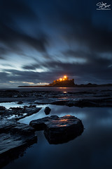 The edge of darkness (Steve Clasper) Tags: uk longexposure blue castle beach pool lights coast north northumberland coastal northern bamburgh predawn tidal steveclasper vision:sunset=0772 vision:outdoor=0666 vision:clouds=0777 vision:car=0555 vision:sky=0906
