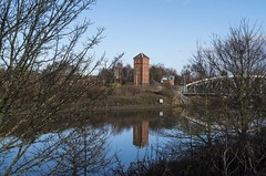 Manchester Ship Canal, Moore (joanjbberry) Tags: trees reflection tower landscape outdoors pentax manchestershipcanal k30
