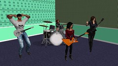 Warming Up (alexandriabrangwin) Tags: wallpaper woman green alexandria hat computer john carpet drums 3d graphics cowboy guitars filter tiles virtual 1998 iconic drumkit cgi closingtime semisonic vid seiana avagreen brangwin
