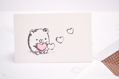 Valentine's Day card (mohu mohu) Tags: bear cute love hearts store handmade small minimal card blank kawaii valentines plain greeting notecard mohu