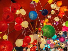 Colorful balls hanging by the string (twinklyblue) Tags: travel thailand lights southeastasia decoration balls chiangmai 12mmf20 olympusomdem5