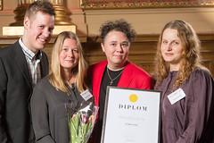Daniel Frisk, Sara Strandqvist, Martin Larsson och Jenny Nordlöf från Verksamt, nominerad till Web Service Award 2013 i klassen Samhällskommunikation.