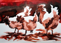 Three chickens, by Alice (Dona Mincia) Tags: 3 bird art animal watercolor painting paper galinha arte inspired study ave tribute homage pintura homenagem releitura aquarela trs inspirado rereading patweaver relecture threechickens