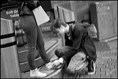 Fuzzy Tenderness (*monz*) Tags: street leica streets film feet stairs bag kneel shoe 50mm birmingham kodak pavement lace iso400 trix steps tie rangefinder 11 summicron rucksack m6 9m brum 20c xtol monz leicam650mmsummicronkodaktrixiso400xtol119m20c