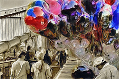 Mickey balloons (Mambo'Dan) Tags: nyc painting balloons brooklynbridge colorsplash photopainting