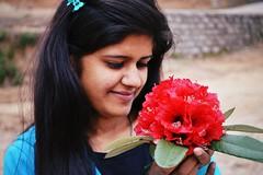 নাই আমাদের কনকচাঁপার কুঞ্জ, বনবীথিকায় কীর্ণ বকুলপুঞ্জ। হঠাৎ কখন্ সন্ধ্যাবেলায় নামহারা ফুল গন্ধ এলায়, প্রভাতবেলায় হেলাভরে করে অরুণকিরণে তুচ্ছ উদ্ধত যত শাখার শিখরে রডোডেন্ড্রন্ গুচ্ছ। (Sougata2013) Tags: red portrait people india mountain flower girl smile face lady march nikon expression hill smiley rhododendron mandi himachal hilltop himachalpradesh stateflower 2014 nikond3200 dhuan devbhoomi dhuandevi রডোডেন্ড্রন্