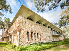 R.G. Menzies Library (Chimay Bleue) Tags: anu australian national university library menzies building stone set concrete arches floating roofline midcentury modernism modernist design architecture mcm