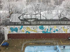 TQ-snow-8944 (teqmin) Tags: keithharing mural hudsonsquare greenwichvillage snow lookingwest outdoorpool winter nyc newyorkcity newyork