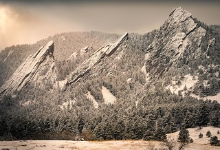 Flatirons in New Fallen Snow - Boulder, Colorado