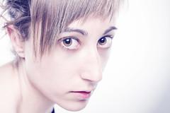Like an alien. (deliazasaph) Tags: portrait studio people beauty nomakeup eyes bigeyes girl woman alien white