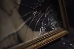 The Escape of the Past (akigabo) Tags: montreal abstract past broken window future journey light pieces crystal frame photography akigabo canon eos rebel dsrl t5i 700d 50mm darkness dof depthoffield details focus composition minimal glass monochrome