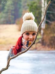 """Stick figure"" (Kalev Lait photography) Tags: portrait rain half stick girl redhead woman conceptual edit blueeyes spring lake ice portreature grain"