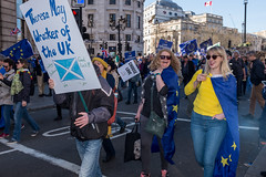 Theresa May wrecker of the UK (Gary Kinsman) Tags: sw1 fujix100t fujifilmx100t 2017 westminster london candid streetphotography streetlife flash demonstration protest march marchforeurope eureferendum brexit the48 eu europeanunion remain politics plackard flag euflag whitehall seen visible eyecontact grin smile shades laugh theresamaywreckeroftheuk theresamay wrecker