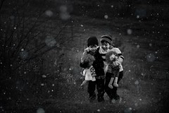 Brothers first, friends for life (Kapuschinsky) Tags: throughherlens sonyalpha minolta fineart fineartphotography emotive moody blackandwhite bnw monochrome snow snowing winter cold brothers family love friends lifestyle lifestyleportrait outdoors outside naturallight kapuschinsky field pennsylvania pennsylvaniaphotography